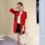 เสื้อคลุมสไตล์เกาหลี สีแดงแต่งลายสกรีน ทรงยาว น่ารัก พร้อมส่งจ้า thumbnail 1