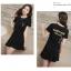 Dress4000 ชุดเดรสไซส์ใหญ่ งานสกรีนหน้าอกและหลัง ชายระบาย ผ้าคอตตอนสีพื้นเนื้อนุ่มใส่สบายยืดขยายได้เยอะ งานน่ารักใส่เก๋ๆ ได้บ่อย (สีพื้นดำ) thumbnail 1