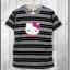 blouse3326 เสื้อยืดแฟชั่น แต่งหน้าคิตตี้ ผ้าโปโลยืดเนื้อนิ่มลายริ้วเล็ก-ใหญ่ สีเทาดำ thumbnail 1