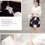 Set_bs1301 งานนำเข้าสไตล์เกาหลี ชุด 2 ชิ้น(เสื้อ+กระโปรง)แยกชิ้น เสื้อแขนยาวผ้าหนาเนื้อดีสีขาว+กระโปรงลายดอกไม้สีดำมีซับใน thumbnail 3