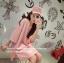 เสื้อตัวยาว/ mini dress สุดน่ารัก ผ้ามีลายในตัว สีชมพูโอรส พร้อมส่ง thumbnail 1