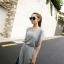 Maxi Dress แม็กซี่เดรสยาว สีเทา โชว์หลัง มาพร้อมเกาะอกสีดำ เก๋ไก๋สุดๆ ผ้าเนื้อดี ทิ้งตัว thumbnail 4