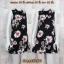 LOT SALE!! Dress3266 ชุดเดรสคอตั้ง แขนกุด ชายระบาย ผ้า Milin (ผ้าทอหนาเนื้อดี) ลายดอกทานตะวันโทนสีขาวแดงพื้นสีดำ thumbnail 1