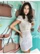 เดรสสไตล์แบรนด์ Brand : JANSUDA White Lace Pearl Mini Dress