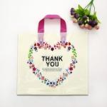 ถุงกระเป๋าตั้งได้สีครีมลายดอกไม้หัวใจ 35x29x7 cm. 50 ชิ้น