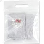 ถุงซองซิป หน้าใสด้านหลังเป็นผ้า มีรูแขวนสีขาว 20x18+5 cm. 50 ชิ้น