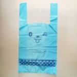 ถุงหูหิ้วขยายข้างสีฟ้าลายหน้าการ์ตูนยิ้ม 23x43x11 cm. 100 ชิ้น