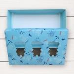 กล่องกระดาษแบบฝาปิด สีฟ้าลายการ์ตูนมีช่องโชว์สินค้ารูปหมี 17.5x11.5x4 cm. 20 ชิ้น