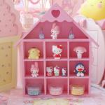 ชั้นวางของ handmade 10ช่อง รูปบ้าน สีชมพู