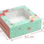 กล่องสบู่ โชว์หน้าสบู่ ลายดอกไม้ 60 ชิ้น 8.2*8.2*3cm
