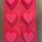 แม่พิมพ์ซิลิโคน หัวใจ 6 ช่อง 6*6*3cm