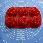 แม่พิมพ์ซิลิโคน รูปดอกกุหลาบ 6 ช่อง 80g