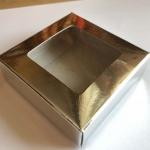 กล่องกระดาษสีเงินใส่สบู่ขนาด 8*8*2.5 cm 100 ชิ้น
