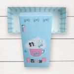 กล่องกระดาษแบบฝาปิดสีฟ้าลายการ์ตูนแมว Sweet Flying Dream 17.5x8x4.5 cm. 20 ชิ้น