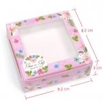 กล่องใส่สบู่ลายดอกไม้สีชมพู มีช่องพลาสติกใส 60 ชิ้น