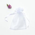 ถุงซองผ้าไหมแก้วสีขาวมีเชือกรูด 100 ชิ้น ขนาด 9x12 cm