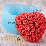 แม่พิมพ์ซิลิโคนหัวใจดอกไม้ 100g 6.4*5.7*3 cm
