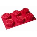 แม่พิมพ์ซิลิโคน รูปดอกกุหลาบ 6 ช่อง