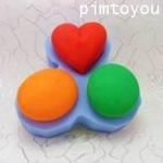 แม่พิมพ์สบู่ 3 ช่อง หัวใจ / รูปไข่ / วงกลม ช่อง 80g