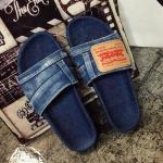 รองเท้าแตะแฟชั่นผู้หญิงผ้ายีนส์ สีฟ้าซีด/ป้ายหนัง size 36-40