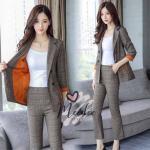 ชุดเซ็ตเสื้อสูท+กางเกง เนื้อผ้าสูทลายสก็อตอย่างดีพร้อมซับในสีส้มตัดกับลายสวยม๊าก