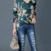 เสื้อเชิ้ตแขนยาวพิมพ์ลายดอกไม้คลาสสิค