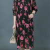 ชุดเดรสผ้าชีฟองอัดพลีท พิมพ์ลายดอกไม้สีสดใส