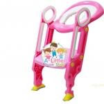 ฝารองชักโครกมีบันไดสำหรับเด็ก สีชมพู สามารถพับเก็บได้