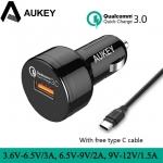 ที่ชาร์จในรถ Aukey 1-Port USB Car Charger with Quick Charge 3.0 (QC 3.0) + แถมสาย Aukey Type-C USB