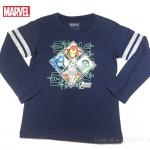 เสื้อยืดเด็กแขนยาว สีกรม ลายฮีโร่ Marvel ขนาด 2-4 กับ 4-6