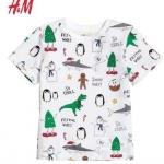 เสื้อยืดเด็กสีขาวเพนกวิน H&M ขนาด 2-8 ปี