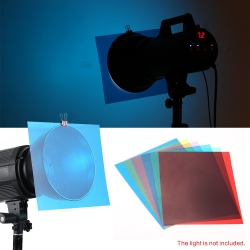 เยลสี 6pcs 25 * 20cm Transparent Lighting Color Correction Gel Sheets Filters Flash Light Speedlite OOP GEL2520-X6