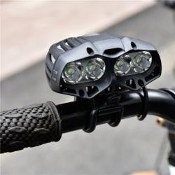 ไฟจักรยาน ไฟท้าย ไฟหน้าจักรยาน LED OOP CREE XML-T6 X4 Waterproof 4 Modes S7 - Black สีดำ