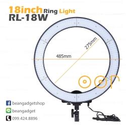 ไฟแต่งหน้า วงกลม ไฟริงไล้ท์ 18 นิ้ว ไฟต่อเนื่อง ไฟถ่ายรูป RL-18Wmove 48W LED Ring Light 5500K ใส่แบตเตอรี่ได้ สีขาวล้วน