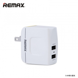 ที่ชาร์จไฟ 2 ช่อง REMAX Charger Dual USB 3.4A - White ขาว