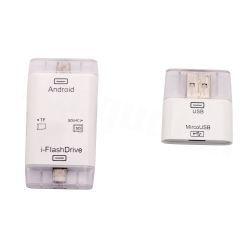 i-FlashDeviceHD D-336 iOS Android USB 3 in 1 Type A Micro USB 8 Pin Interface Card Reader