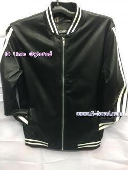 เสื้อแจ็คเก็ตหนัง Fellow สีดำแถบขาว