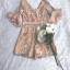 ชุดจั๊มสูทขาสั้นเนื้อผ้าทอลายดอกไม้ thumbnail 5