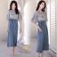 ชุดเซ็ท เสื้อ+กางเกง เสื้อผ้าชีฟองเกาหลีสีฟ้าอ่อน thumbnail 4