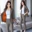 ชุดเซ็ตเสื้อสูท+กางเกง เนื้อผ้าสูทลายสก็อตอย่างดีพร้อมซับในสีส้มตัดกับลายสวยม๊าก thumbnail 5