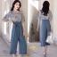 ชุดเซ็ท เสื้อ+กางเกง เสื้อผ้าชีฟองเกาหลีสีฟ้าอ่อน thumbnail 3