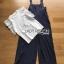 ชุดเซ็ตเอี๊ยมจั๊มสูท+เสื้อไหมพรมตกแต่งแขนลูกไม้ ตัวในเป็นเสื้อสีขาว thumbnail 5