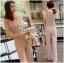 ชุดจั๊มสูทผ้าเครปสีชมพูอ่อน ตกแต่งระบายผ้าชีฟอง thumbnail 3