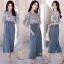 ชุดเซ็ท เสื้อ+กางเกง เสื้อผ้าชีฟองเกาหลีสีฟ้าอ่อน thumbnail 5