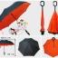 ร่มหุบกลับด้าน 2 ชั้น ร่มกลับด้าน ร่มหน้าฝน invert umbrella สามารถใช้ได้ทุกฤดูกาล ขาด 24 นิ้ว -(สีส้ม/ดำ) thumbnail 2