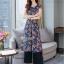 ชุดเสื้อ+กางเกง ผ้าเนื้อดี นุ่มมีน้ำหนัก เสื้อพิมพ์ลายดอก ทรงยาว ผ่าหน้า-หลัง thumbnail 2