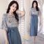 ชุดเซ็ท เสื้อ+กางเกง เสื้อผ้าชีฟองเกาหลีสีฟ้าอ่อน thumbnail 2
