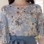 ชุดเซ็ท เสื้อ+กางเกง เสื้อผ้าชีฟองเกาหลีสีฟ้าอ่อน thumbnail 1
