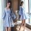 ชุดเดรสผ้า Cotton เนื้อผ้าทอลายริ้วสีฟ้าลายขวาง thumbnail 2