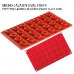 FR074 Multi-portion 28 cavities Pavoni sil. red brick